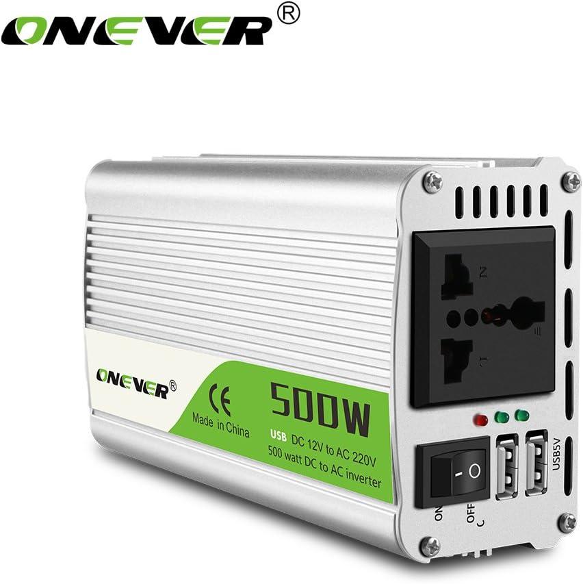 ONEVER 500W / 1000W (Pico) de energía del Coche del inversor del convertidor DC 12V a 220V AC convertidor de alimentación Onda sinusoidal modificada de alimentación con Puerto USB/Universal Plug