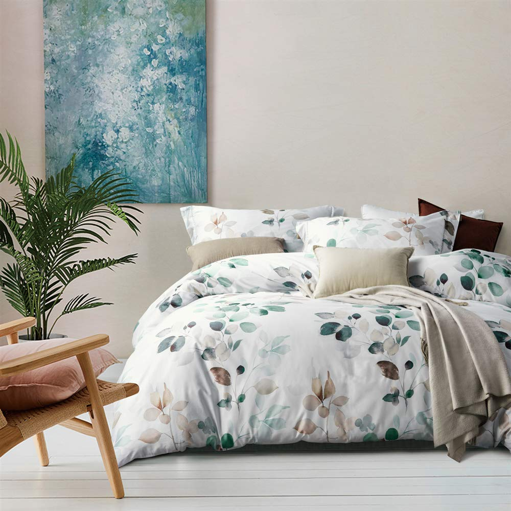 MILDLY White Floral Duvet Cover 3 Pieces Set Leaf Pattern Printed Soft Cotton Comforter Cover with 2 Pillow Shams Queen Size, Able