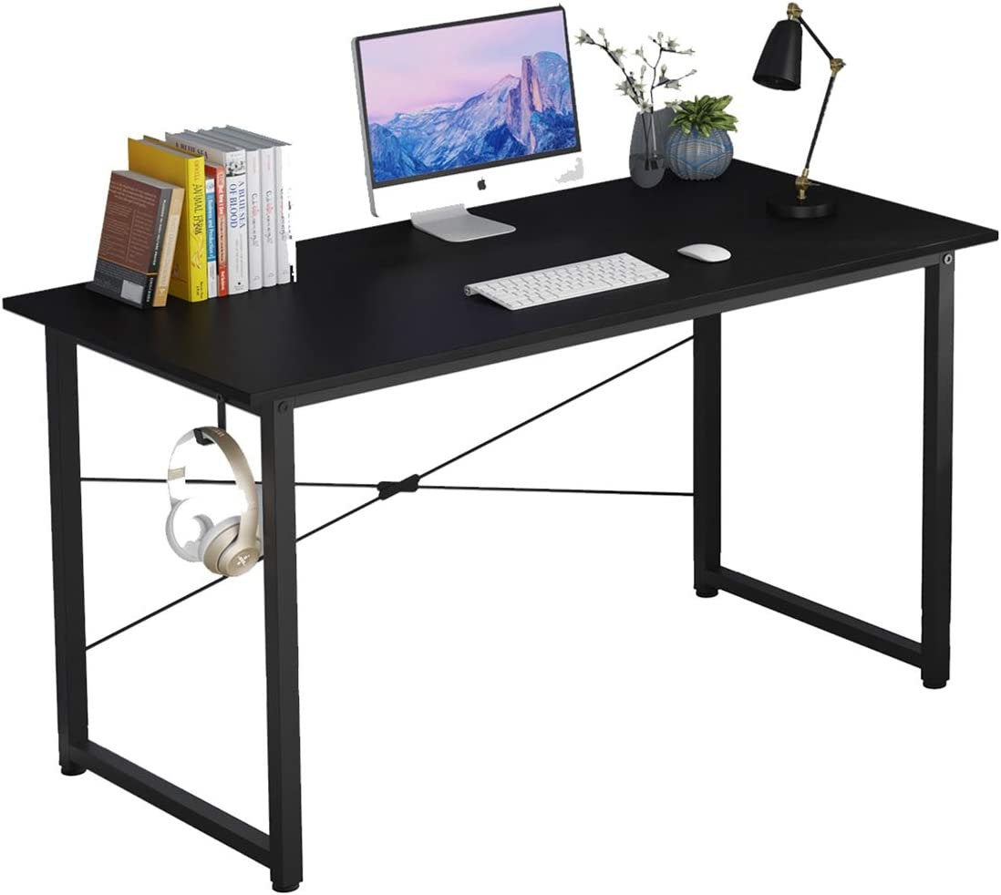 """Home Office Writing Desk,SOHO Computer Desk,Modern Simple Style Laptop Table, Workstation with X-Rod Reinforcement (55"""", Black)"""