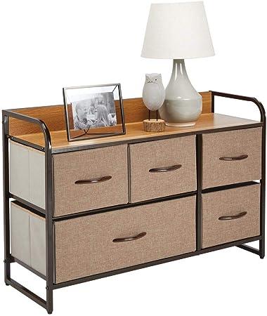 mDesign Cómoda para dormitorio con 5 cajones – Mueble con cajones ancho para el salón, la habitación o el pasillo – Cajonera de metal, MDF y tela para guardar ropa – marrón: Amazon.es: Hogar
