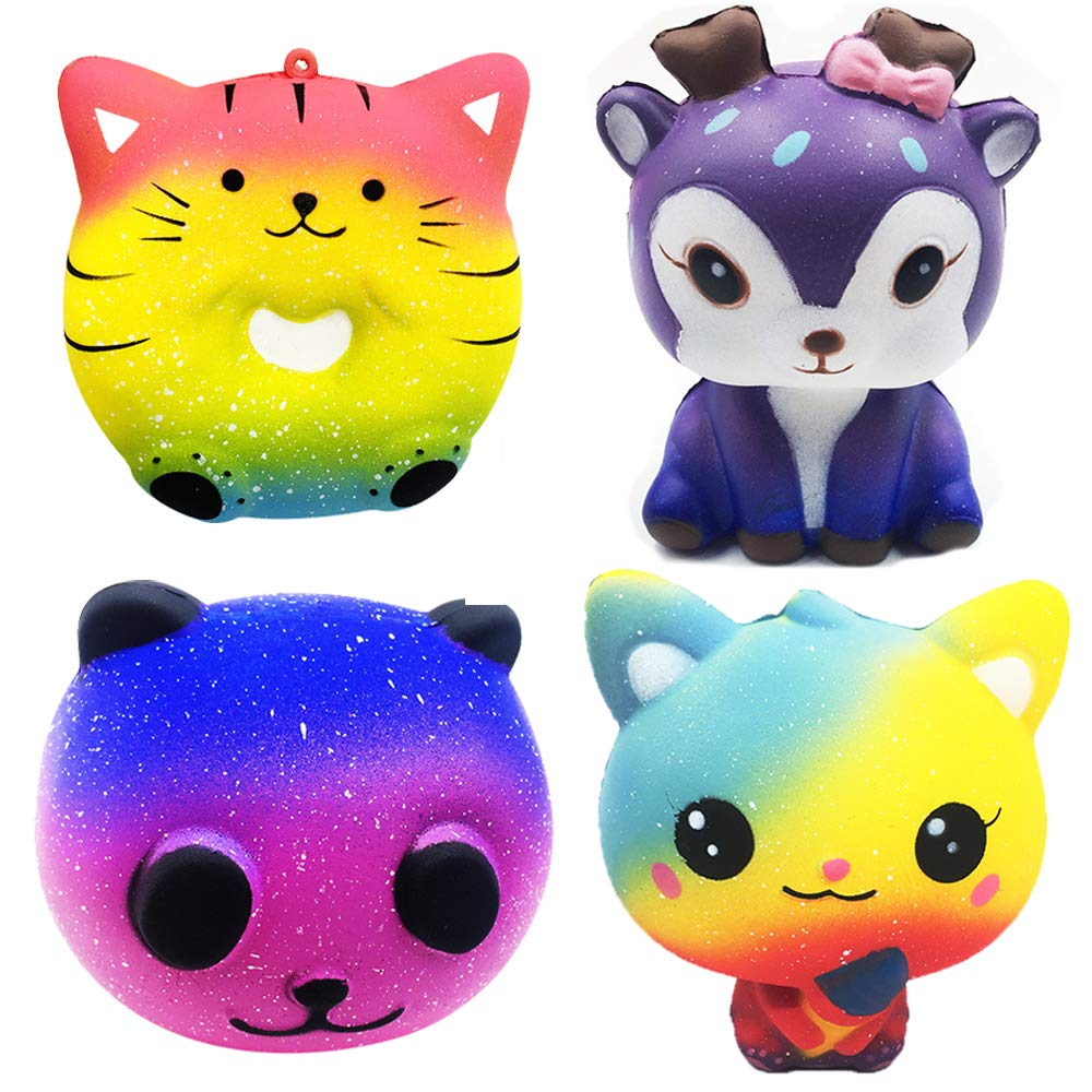 GRACEON Jumbo Squishies Slow Rising Toy Donut Cat,Deer,Ice Cream Cat Kawaii Squishy Set Soft Cream Scented Animal Squeeze Toys for Kids and Adults Stress Relief Toys(4 Pack) by GRACEON