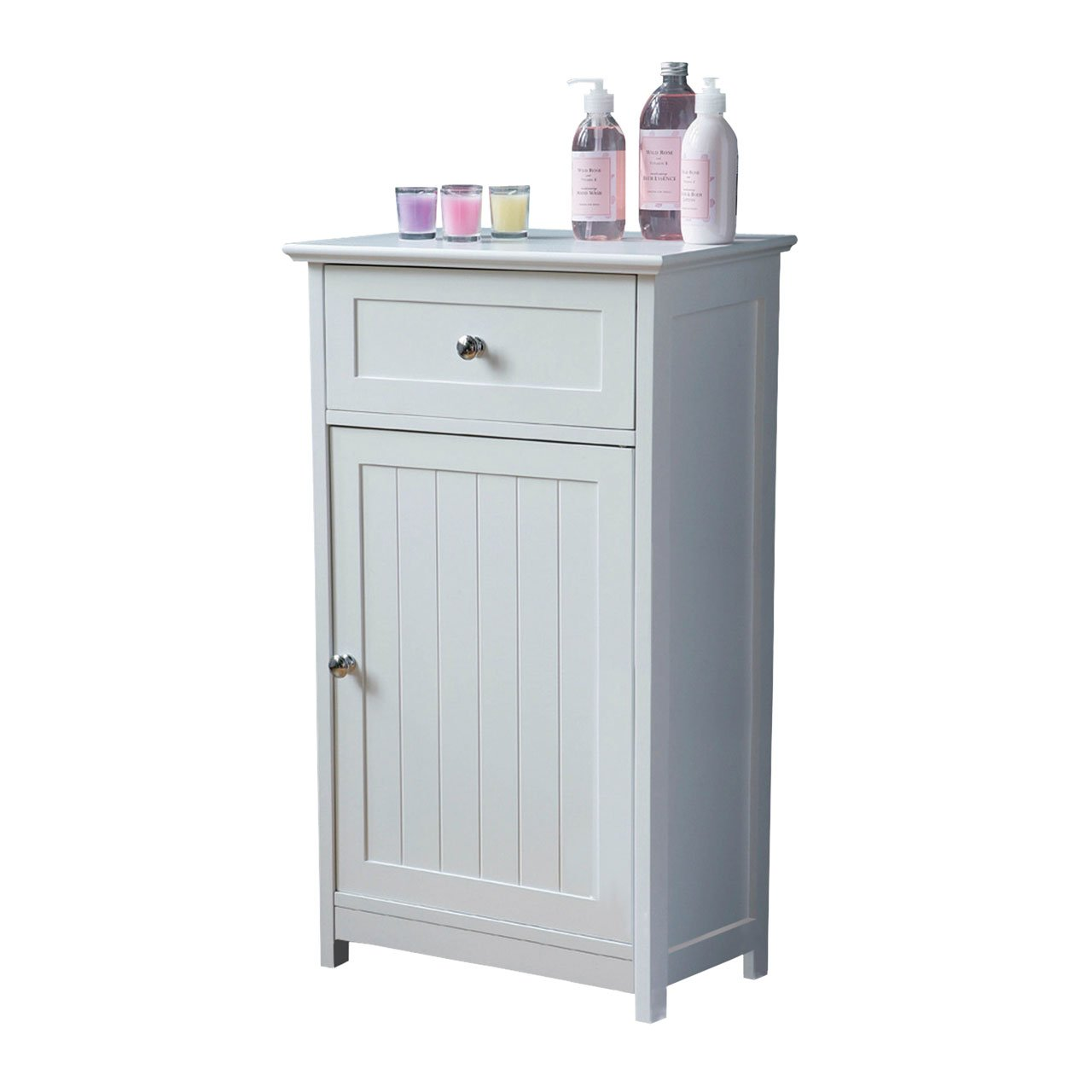 STORAGE CUPBOARD WHITE W/TOP DRAWER FLOOR STANDING: Amazon.co.uk ...