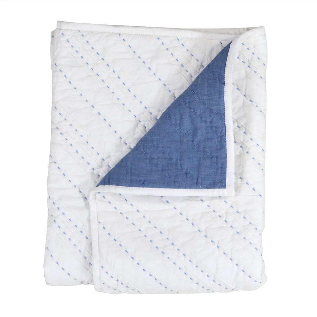 Hello Spud - Quilt - Diagonal Pintuck Blue - COTTON - Hand Made