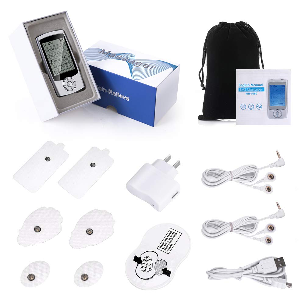 Dual Channel Tens Unit Rechargeable EMS Muscle Stimulator with 16 Modes and 6 Pads Muscle Stimulator for Body Building Back Shoulder Elbow Pain Relief and Management Haofy Electronic Pulse Massager