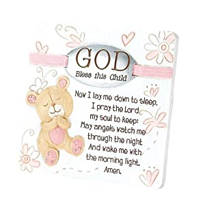 Dicksons Baby Bear God Bless This Child Tabletop/Wall Plaque for Girl, White