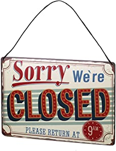 ARTCLUB Sorry We Are Closed Retro Vintage Metal Tin Sign Wall Decor