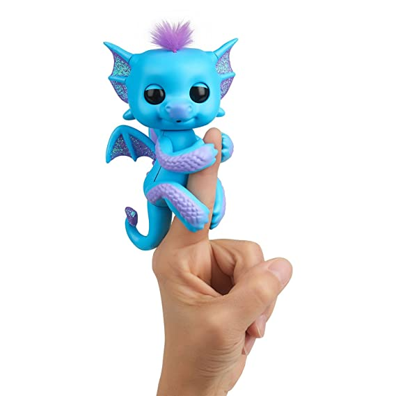 WowWee Fingerlings - Glitter Dragon - Tara (Blue with Purple) - Interactive Baby Collectible Pet - by