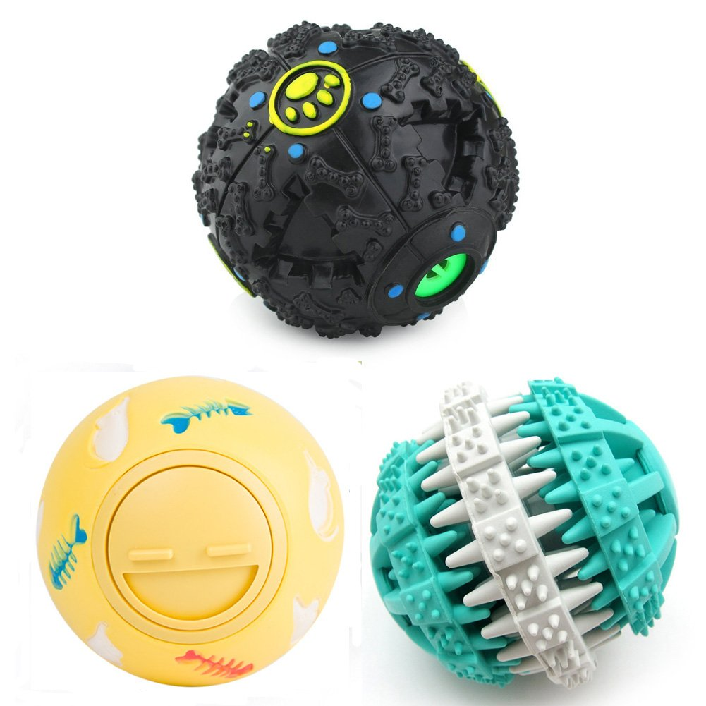 PetFavorites Treat Dispensing Dog Cat Toy IQ Balls Interactive Chew Toys & Smart Food Puzzle for Boredom/Dental Teething/Slow Down Feeding, 3 Pack