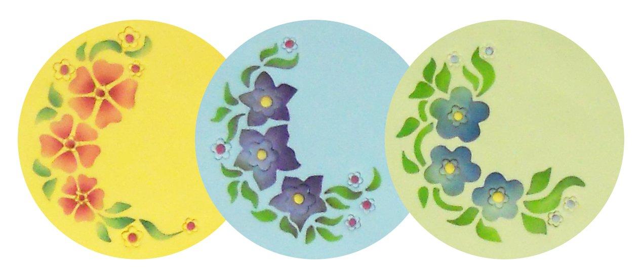 designer stencils C320 Flower Sprays Cake and Cookie Stencils Beige//semi-transparent
