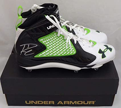 72ce6022 Russell Wilson Autographed Under Armour Cleats Shoes Seattle Seahawks RW  Holo #42132 - Autographed NFL Cleats at Amazon's Sports Collectibles Store