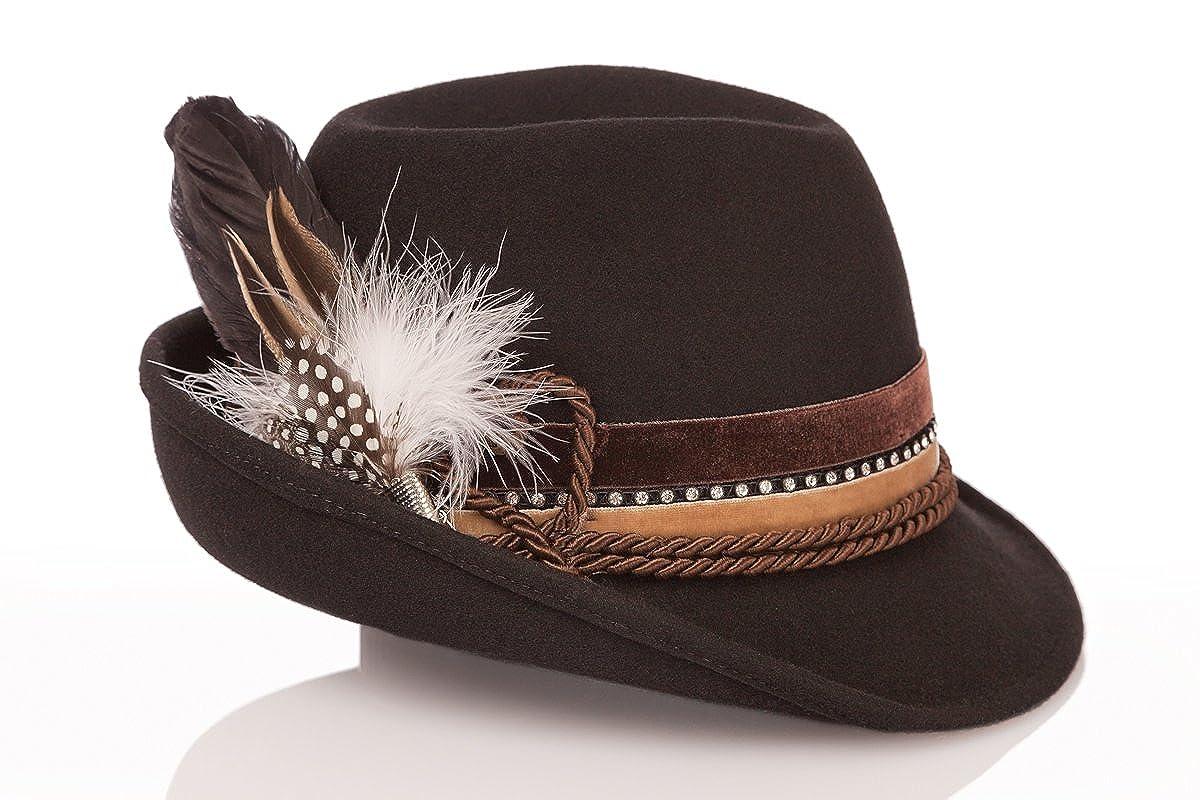 Trachten Damen Hut - SAMT - bordeaux, braun Größe 56