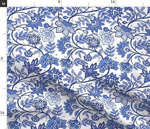 Spoonflower Floral Fabric - Indienne - Indigo Chinoiserie Chintz Toile Botanical Vintage Inspired Blue Print on Fabric by The Yard - Petal Signature Cotton for Sewing Quilting Apparel Crafts Decor