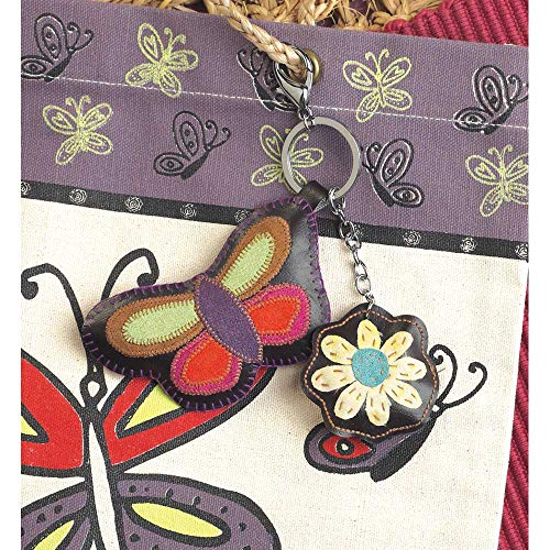 Artistic Charming Butterfly with Floral Accent Springtime Hues Silk Key Chain