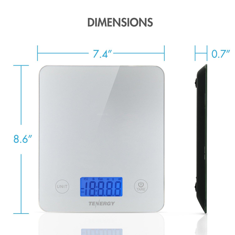 sensible al tacto alimentos escala con pantalla LCD retroiluminada y funci/ón de tara Tenergy Digital Cocina Escala escala de cristal templado para cocina//peso//para horno, 5/kg, incluye pilas