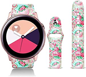 FTFCASE Silicone Sport Bands Compatible with Galaxy Watch 42mm Bands Gear Sport Band Beautiful Nature, Flower Printed 20mm Strap Replacement Bracelet Wristband for Samsung Galaxy Watch 42mm R810 Watch