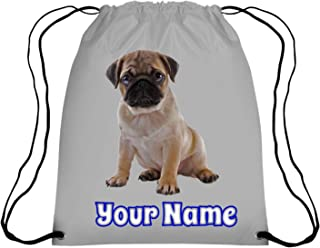 6bd5a481d36f Personalised Pug Puppy Drawstring Kids Gym Bag for School