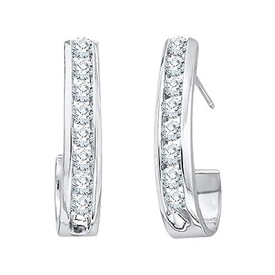 663b1bb27bf77 Diamond J-Hoop Earrings in 10K Gold (1/2 cttw) (Color JK, Clarity I2-I3)