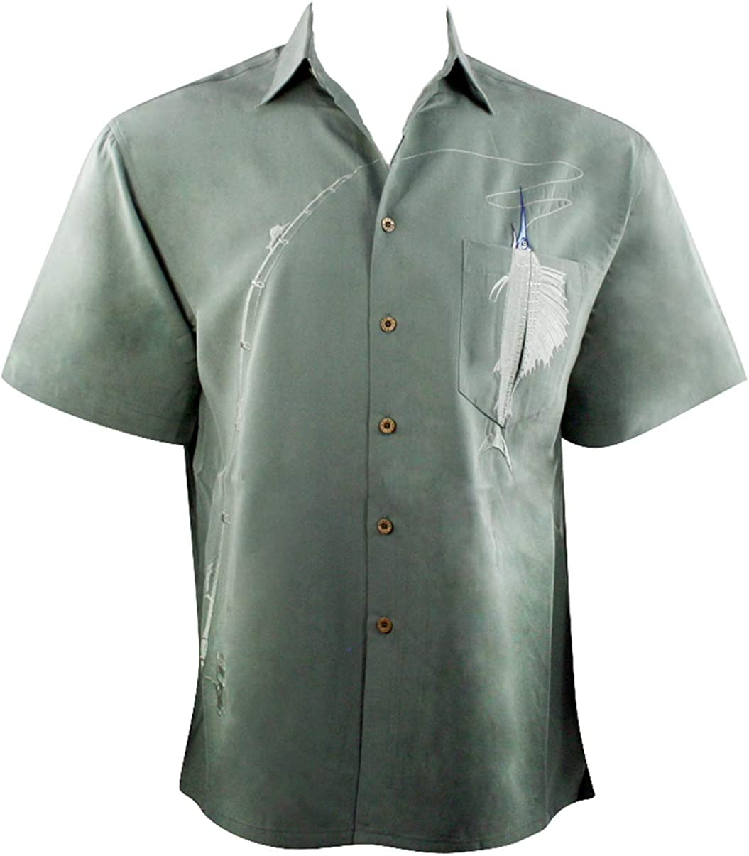 Bamboo Cay Shake The Hook Tropical Style Embroidered Button Front Shirt