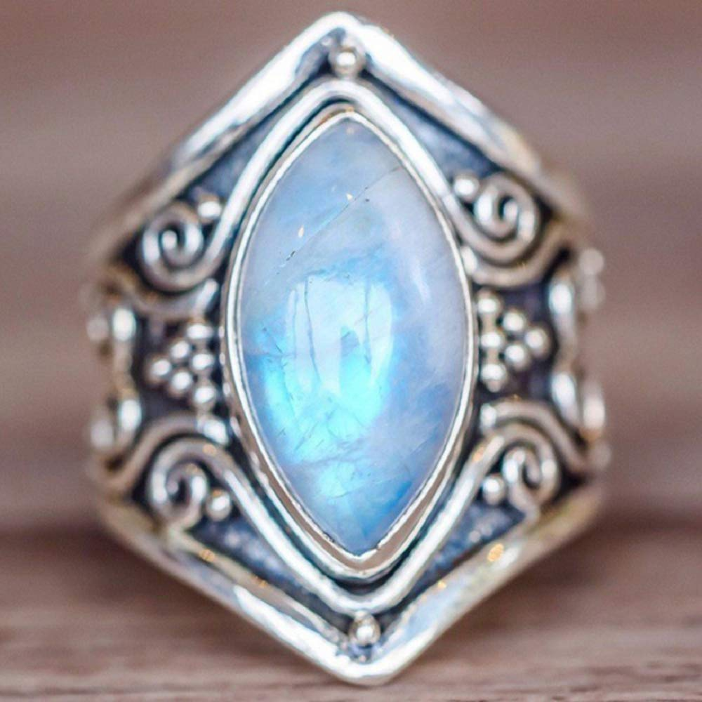 US Code 6 Wenbin Fashion Vintage Ladies 925 Sterling Silver Ring Oval Cut Natural Bohemian Turquoise Moonstone Ring Wedding Ring Size 6-10