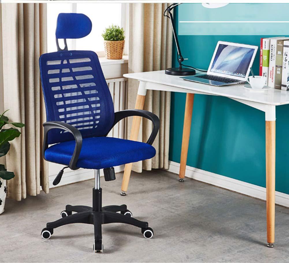 JESU Ergonomisk kontorsstol med nackstöd och ryggstöd, datorstol skrivbordsstol, svängbara hem komfortstolar, hög rygg med andningsbart nät, svart BLÅ