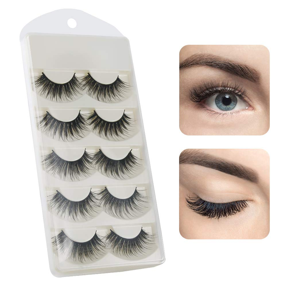 3D False Eyelashes Extension 5 Pairs, BIGHOUSE Hand-made Nature Messy Volume Fluffy Long Soft non-magnetic Eyelashes BIG HOUSE