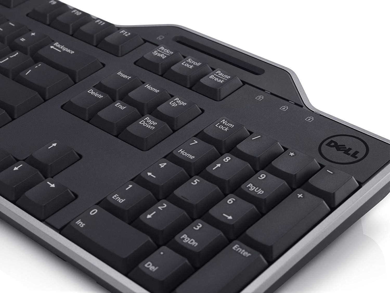 Teclado USB original DELL KB813 con lector de tarjetas inteligentes, diseño QWERTZ para lenguaje suizo, Dell P/N: 7YF39, con CD de software, viene con ...