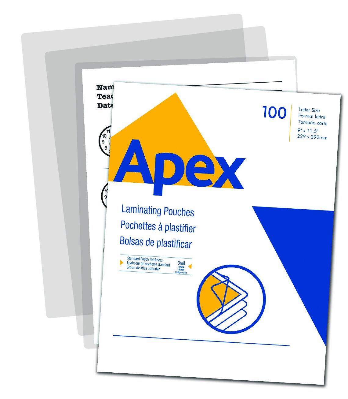Apex 5242601 - Lote de 100 bolsas laminadas para cartas de 3 ...