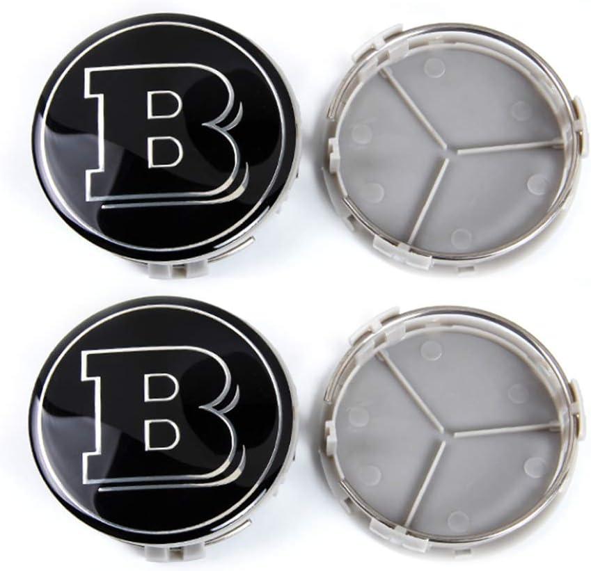 YIKA 4pcs for Mercedes 75mm Hub Cap Cover Car Logo Emblem Wheel Center for Benz A B C CLA CLS G M R S Center Cap Badge(Brabus)