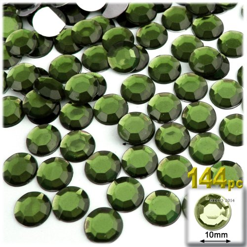 The Crafts Outlet 144-Piece Flat Back Round Rhinestones, 10mm, Olive Green ()