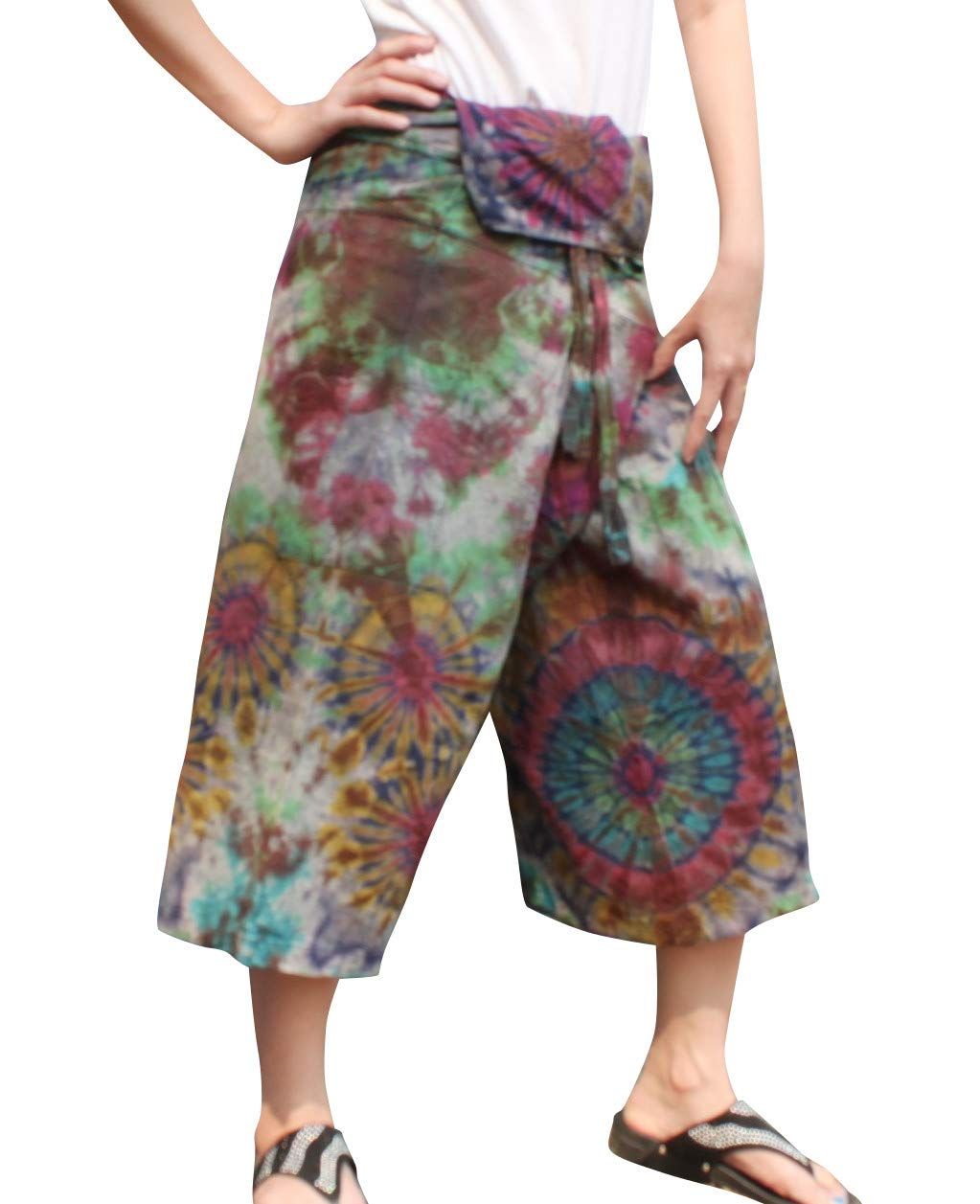 Full Funk Cotton Tie Dyed Natural Colorful Thai Fisherman Wrap 3/4 Leg Pants, Medium, Violet Murge by Full Funk