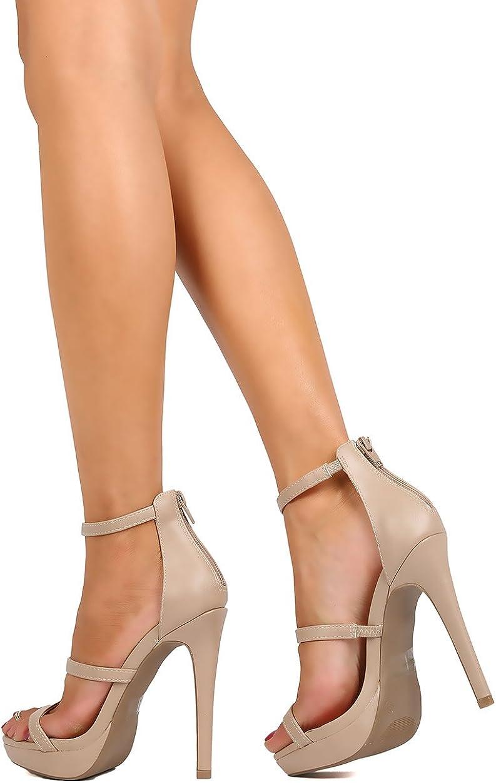 Natural Wild Diva Women Leatherette Open Toe Strappy Minimal Stiletto Sandal EG72