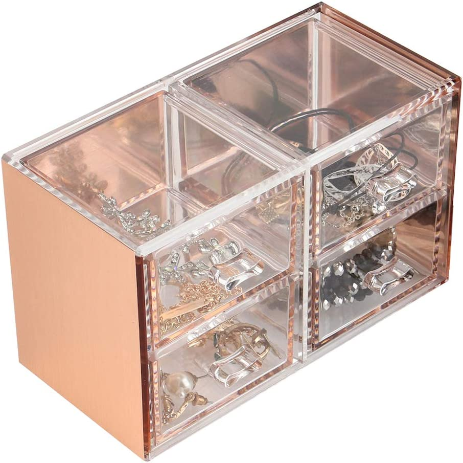 Moosy Life Rose Gold Desktop Organizer with Drawers, 4 Spaces, Acrylic, Moonlight Series