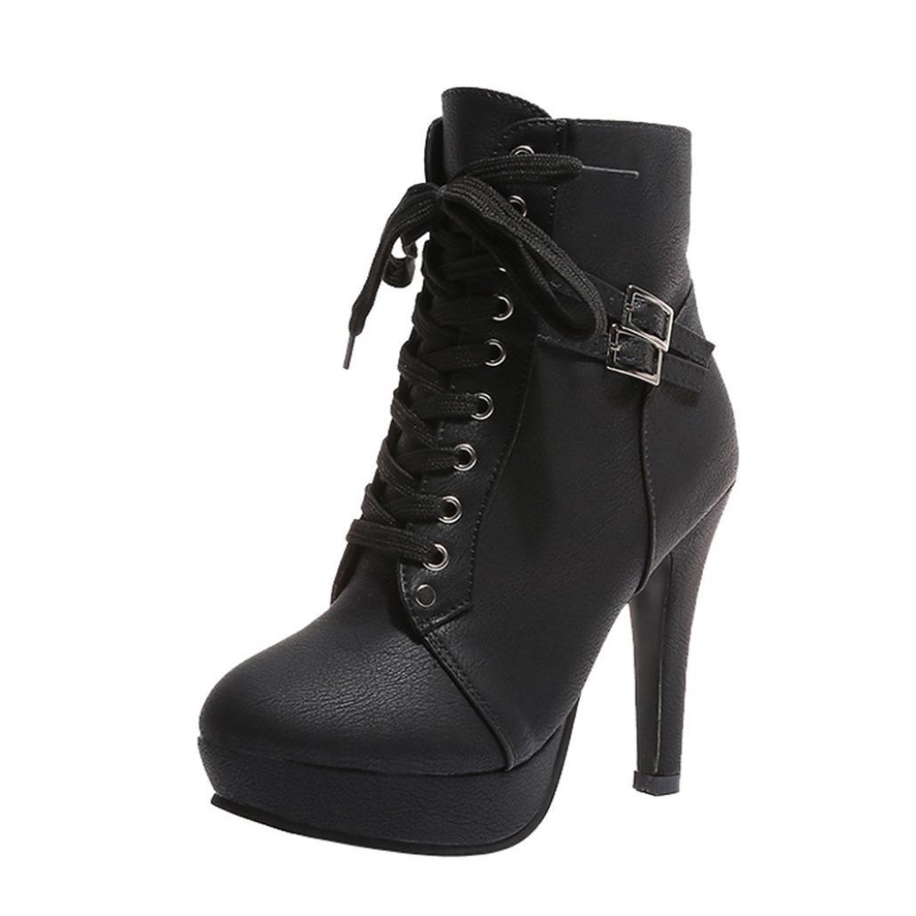 Soldes Ankle Chaussures Plateforme Bottines à Bottines Lacets en en Cuir Noire Femme,Overdose Bottes à Talon Haute Sexy Ankle Boots Noir e7c0edb - shopssong.space