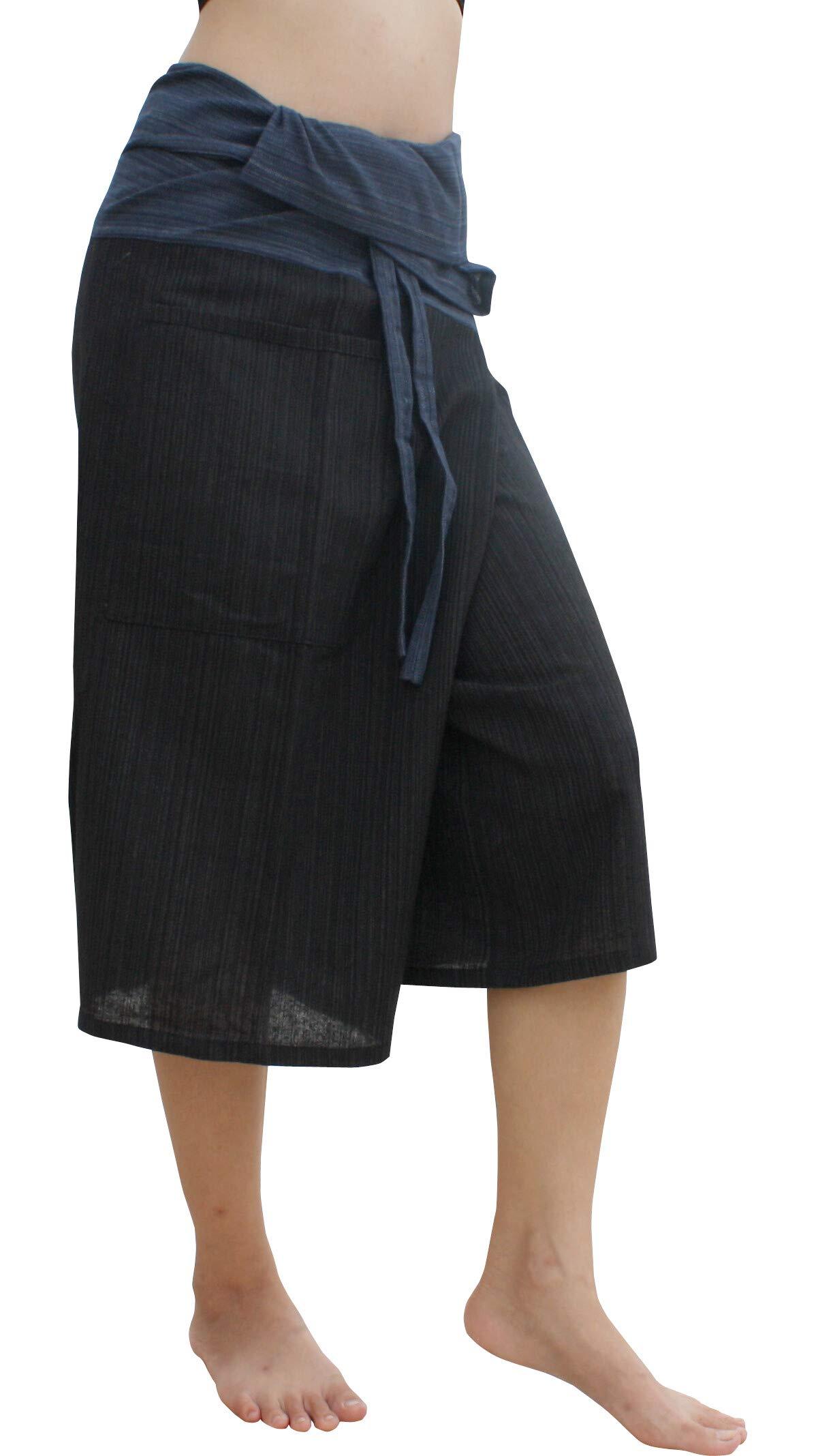 Raan Pah Muang Thin Striped Cotton Two Tone Fisherman Capri Wrap Plus Sized Pants, XX-Large, Black/Yale Blue by Raan Pah Muang