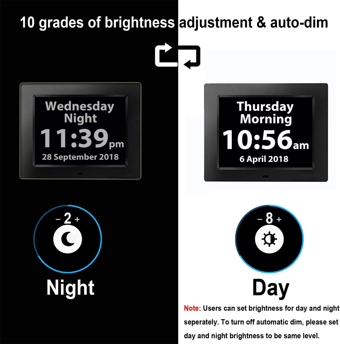 16 Reminders Digital Day Alarm Clock Electronic Calendar Analog Clocks for Memory Loss Elderly Seniors Dementia Sufferers Alzheimers Products Wall Vision Impaired Patients Kids Room 2020 Version V/éfa/î/î White