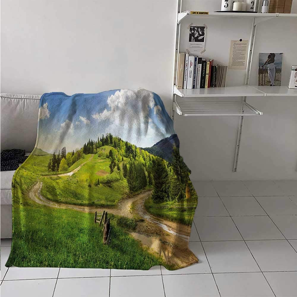 Bed Blanket Landscape Warm Fluffy and Comfortable Blanket Hillside Meadow Cloudy Sky Fence Near The Cross Road with Fir Trees on Both Sides Best Gift for Women, Men, Kid, Teen Green Blue 70x93 Inch