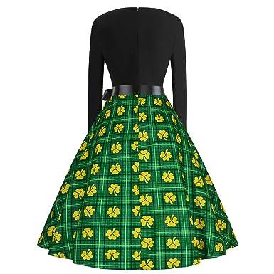 89dbc6ee3b18b Culater Vestido Fiesta De Noche De Trébol De St. Patrick s para Mujer  Vestidos De Fiesta para Fiesta Ropa De Mujer  Amazon.es  Ropa y accesorios