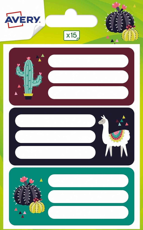 Avery España ECOL15L-UK .Pegatinas para libros y cuadernos 76x34mm, lama & cactus- 15 etiquetas por sobre: Amazon.es: Oficina y papelería