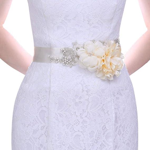 Wedding Dress Sash Bridal Sash belt Wedding Flower belt Champagne Flower Sash Bridal satin sash Lace sash belt