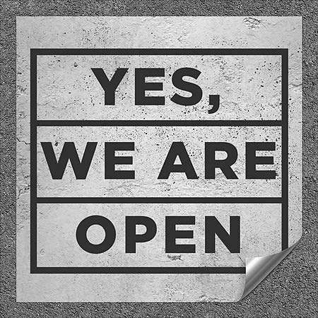 CGSignLab |''Yes We are Open -Basic Gray'' Heavy-Duty Industrial Self-Adhesive Aluminum Wall Decal (5-Pack) | 24''x24''