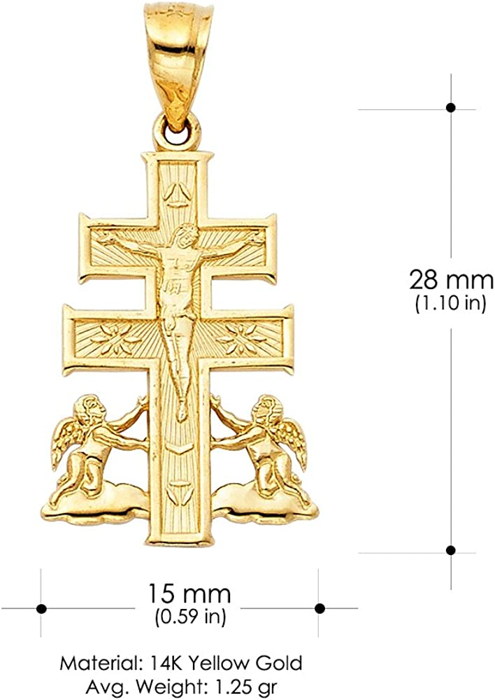 14K Yellow Gold Jesus Crucifix Cross of Caravaca Pendant with 1.2mm Singapore Chain Chain Necklace