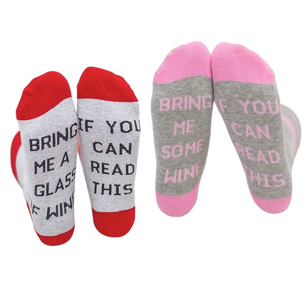 Aolvo 2 Pairs Unisex Funny Saying IF YOU CAN READ THIS Knitting Combed Cotton Socks Creative Gift for Men and Women