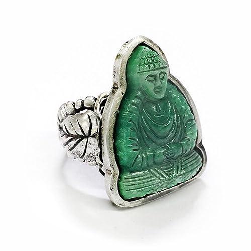 Amazon.com: clásico verde jade vidrio Anillo | Espiritual ...