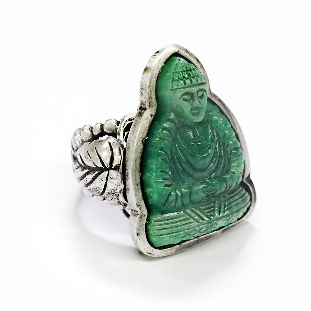 Vintage Green Jade Glass Buddha Spiritual Ring | Zen Buddhist Yoga Meditation Jewelry