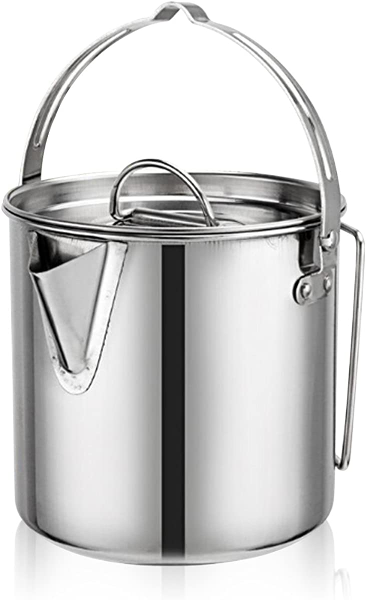 Evaliana 1.2L Stainless Steel Teakettles Outdoor Picnic Camping Kettle Skillet Hiking Foldable Handle