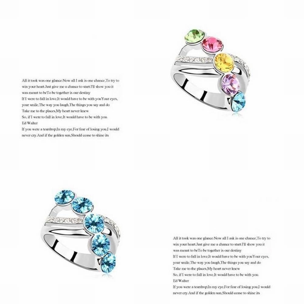 HOX Schmuck High-End-Schmuck /Österreichischen Kristall Ring Bunte Wolken Treffen /Übertrieben Ring Weiblich Einfach Meerblau