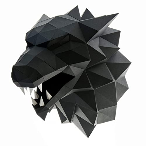 Amazon Com Paperraz Black Wolf Head 3d Animal Puzzle Craft Kit For