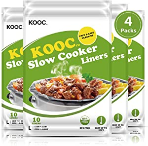 [NEW PACK] KOOC Premium Disposable Slow Cooker Liners and Cooking Bags, Large Size Fits 4QT to 8.5QT Crock Pot, 13