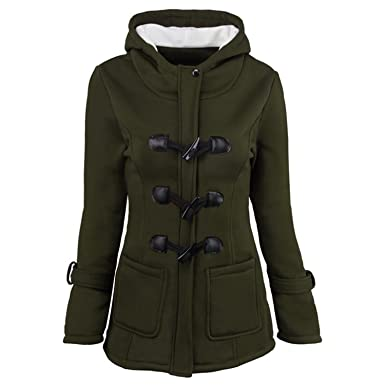Ngyeyu Horn Button Jacket Coat Winter Autumn Women Slim Plus Size Warm Army Green S