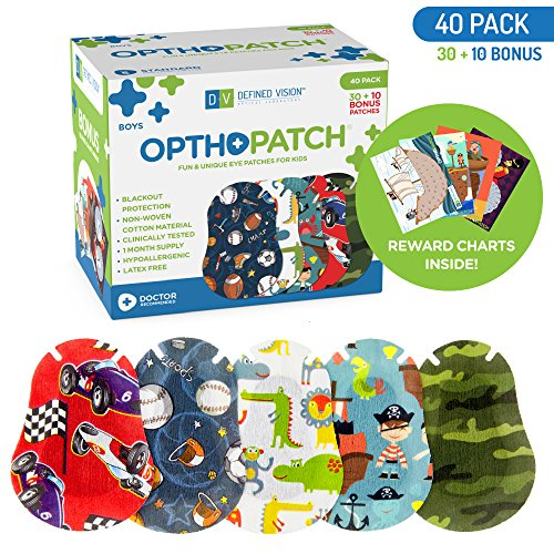 Optho-Patch Kids Eye Patches - Fun Boys Design - 30 + 10 Bonus Latex Free Hypoallergenic Cotton Adhesive Bandages For Amblyopia and Cross Eye - Reward Chart Poster by Defined Vision by Optho-Patch